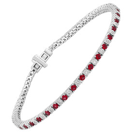 Tennis Bracelet with Created Ruby & 0.25 Carat TW of Diamonds in Sterling Silver