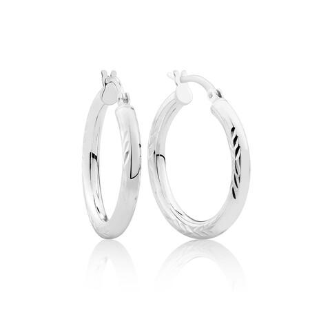 25mm Diamond Cut Hoop Earrings In Sterling Silver