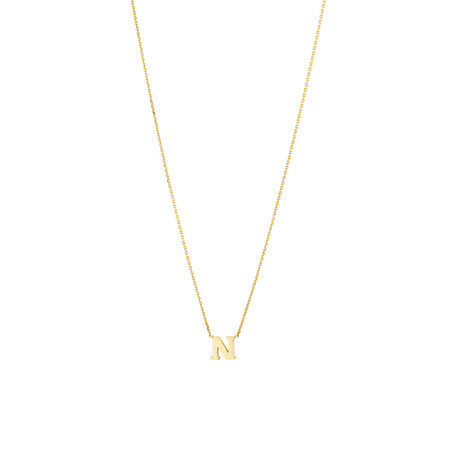 """N"" Initial Necklace in 10ct Yellow Gold"