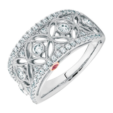 Michael Hill Designer Ring with 0.63 Carat TW of Diamonds in 14ct White & Rose Gold