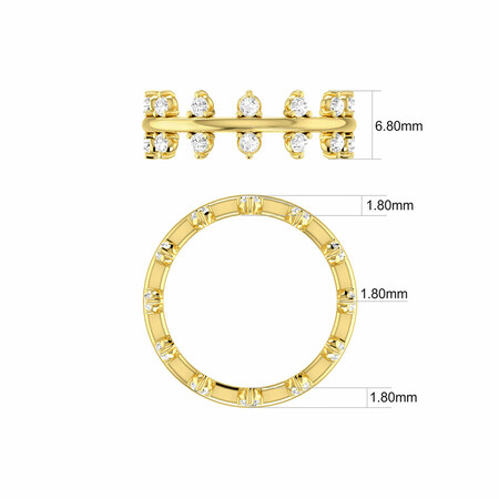 Double Zipper Ring with 0.82 Carat TW of Diamonds in 10ct Yellow Gold