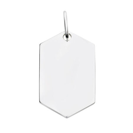 Engravable Large Hexagon Pendant in Sterling Silver