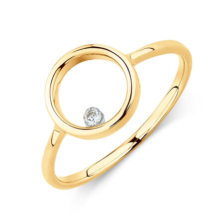 Floating Diamond Circle Ring with Diamonds in 10ct Yellow Gold
