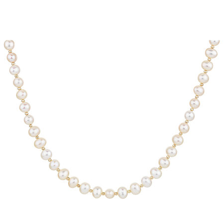 Necklace with Cultured Freshwater Pearl & 10ct Yellow Gold Clasp
