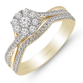 Bridal Set with 0.50 Carat TW of Diamonds in 10ct Yellow & White Gold