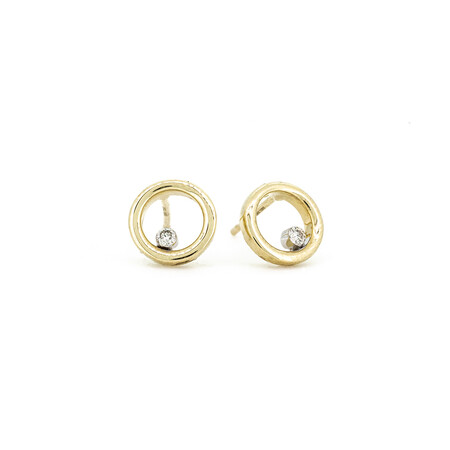 Open Circle Earrings with Diamonds in 10ct Yellow Gold
