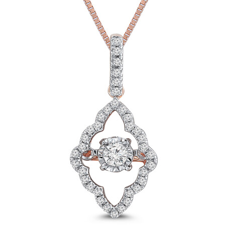 Everlight Pendant with 0.20 Carat TW of Diamonds in 10ct Rose Gold