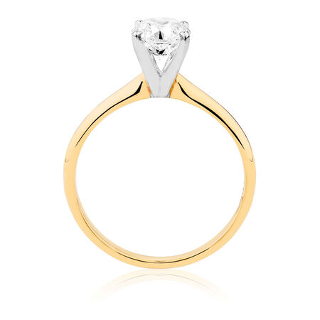 Solitaire Engagement Ring with a 1 Carat Diamond in 14ct Yellow & White Gold
