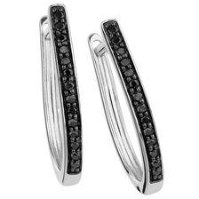 Hoop Earrings with Enhanced Black Diamonds in Sterling Silver