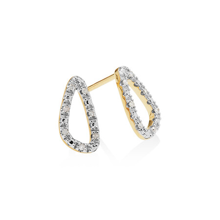 Organic Shape Earrings with Diamond in 10ct Yellow Gold