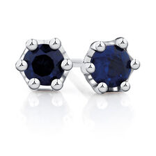 Stud Earrings with Created Sapphires in Sterling Silver