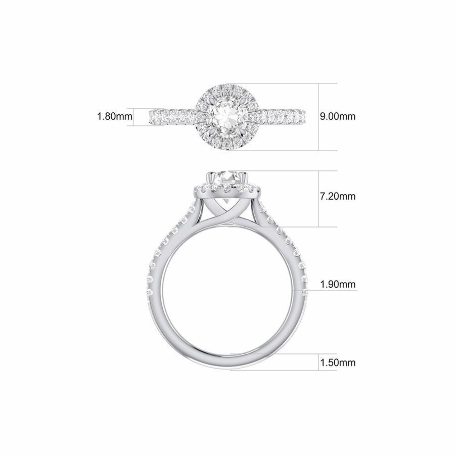 Engagement Ring with 1.38 Carat TW of Diamonds in 14ct White Gold
