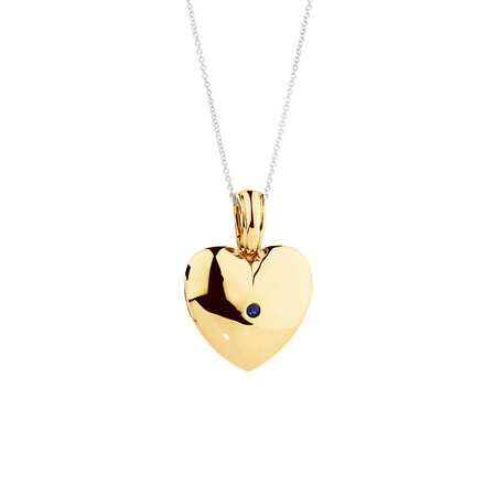 Heart Enhance Pendant with Natural Sapphire in 10ct Yellow Gold