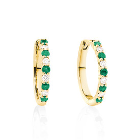 Huggie Earrings with Natural Emerald & 0.20 Carat TW of Diamonds in 10ct Yellow Gold