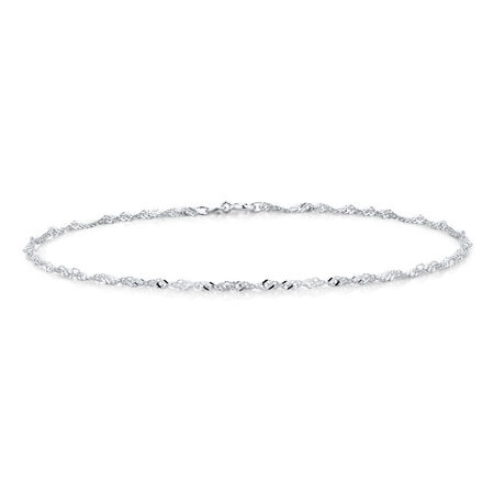 """19cm (7.5"""") Singapore Anklet in Sterling Silver"""
