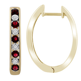 Huggie Earrings with Created Ruby & Diamond in 10ct Yellow Gold
