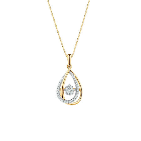 Everlight Pendant with 0.16 Carat TW of Diamonds in 10ct Yellow Gold