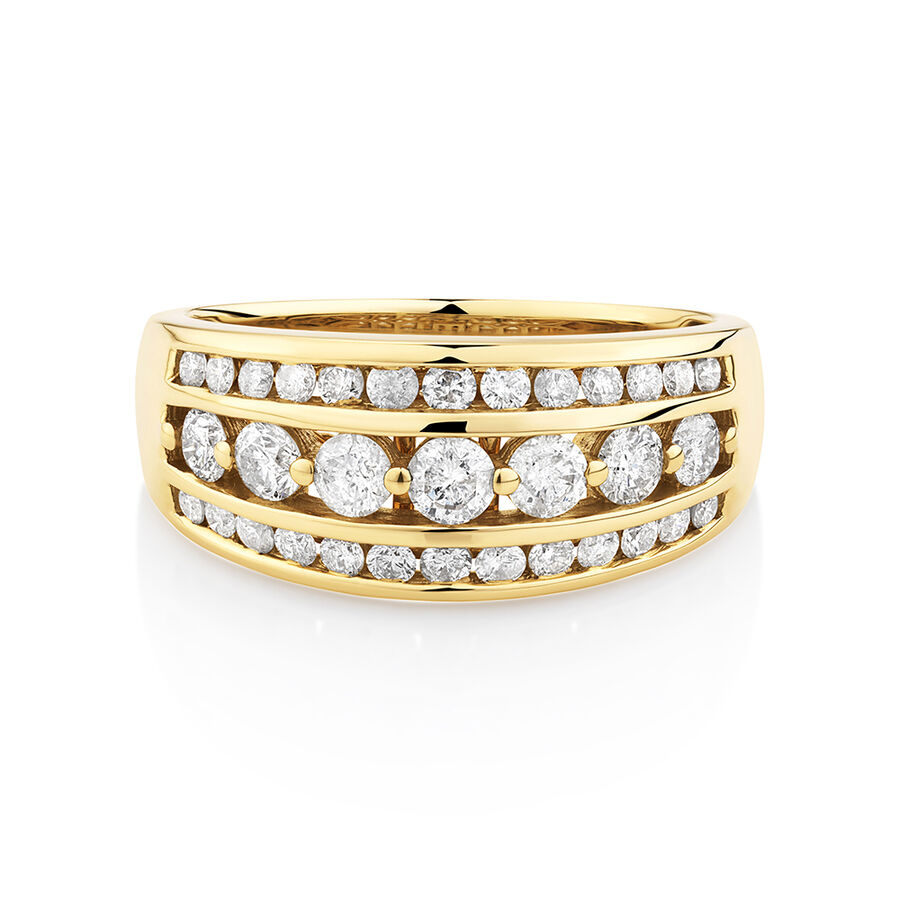 Three Row Ring with 1 Carat TW of Diamond in 10ct Yellow Gold