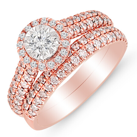 Bridal Set with 1.00 Carat TW of Diamonds in 14ct Rose Gold