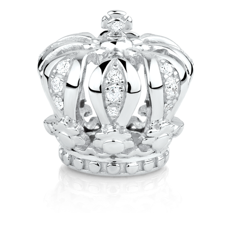 Diamond Set & Sterling Silver Crown Charm