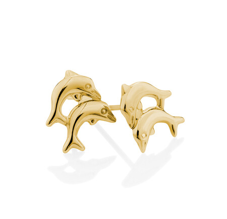 Dolphin Stud Earrings in 10ct Yellow Gold