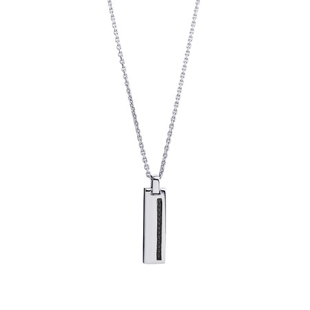 Bar Pendant with Black Cubic Zirconia in Sterling Silver