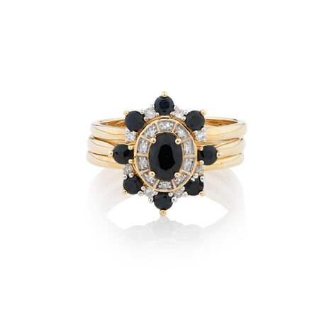Online Exclusive - Ring with 0.26 Carat TW of Diamonds & Sapphire in 10ct Yellow Gold