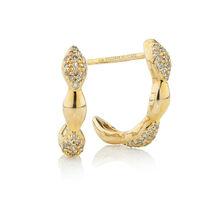 Online Exclusive - Half Hoop Earrings with 0.18 Carat TW of Diamonds in 10ct Yellow Gold