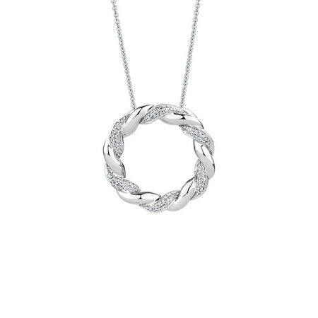 Twist Circle Pendant with Diamonds in Sterling Silver