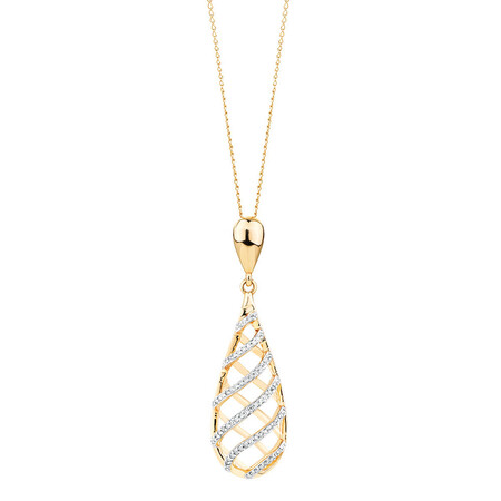 Pendant with 0.17 Carat TW of Diamonds in 10ct Yellow Gold