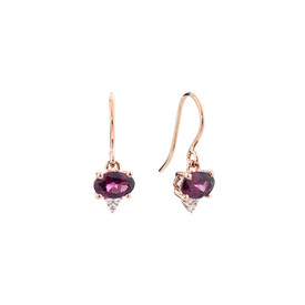 Drop Earrings With Rhodolite Garnet & Diamonds In 10ct Rose Gold