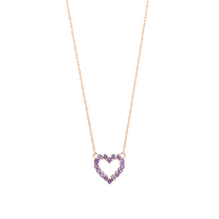 Heart Necklace with Amethyst in 10ct Rose Gold