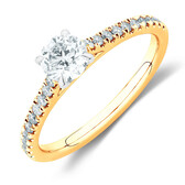 Solitaire Engagement Ring with 0.78 Carat TW of Diamonds in 14ct Yellow & White Gold
