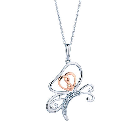 Infinitas Pendant with Diamonds in 10ct Rose Gold & Sterling Silver