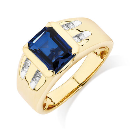 Men's Ring with Created Sapphire & Diamonds in 10ct Yellow Gold