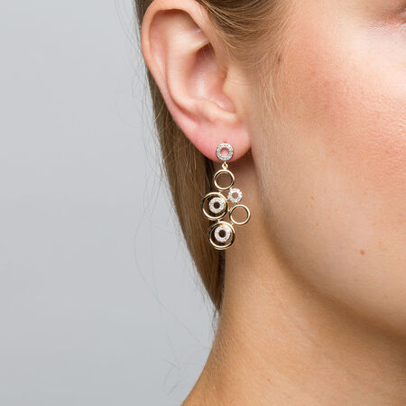Drop Earrings with 0.30 Carat TW of Diamonds in 10ct Yellow Gold