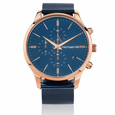 Men's Chronograph Watch in Blue & Rose Tone Stainless Steel