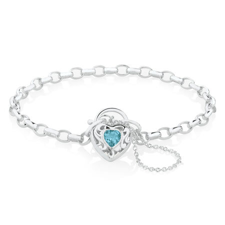 "19cm (7.5"") Heart Bracelet with Blue Topaz in Sterling Silver"
