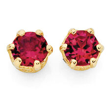 Stud Earrings with Created Ruby in 10ct Yellow Gold