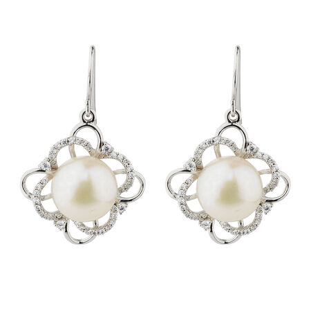 Online Exclusive - Flower Earrings with Cultured Freshwater Pearl & Cubic Zirconia in Sterling Silver