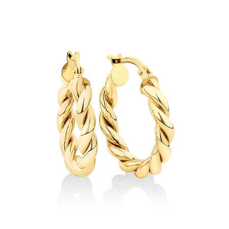 15mm Braid Twist Hoop in 10ct Yellow Gold