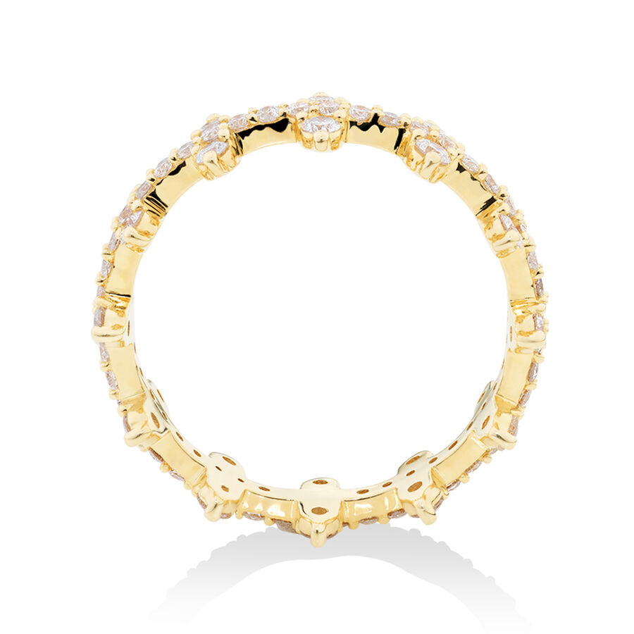 Two Row Zipper Ring with 1 Carat TW of Diamonds in 10ct Yellow Gold