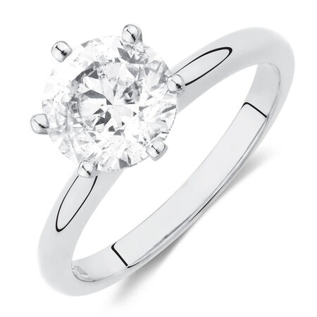 Certified Solitaire Engagement Ring with A 2 Carat TW Diamond in 18ct White Gold