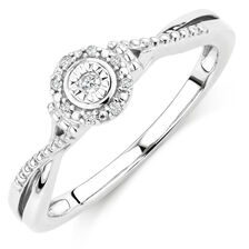 Promise Ring with Diamonds in Sterling Silver