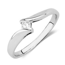 Solitaire Engagement Ring with a Diamond in 10ct White Gold