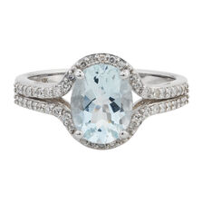 Online Exclusive - Ring with 1/4 Carat TW of Diamonds & Aquamarine in 10ct White Gold