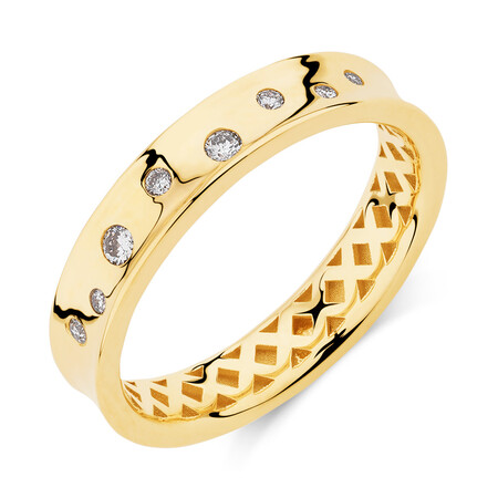 Hammer Set Barrel Ring with 0.10 Carat TW of Diamonds in 10ct Yellow Gold