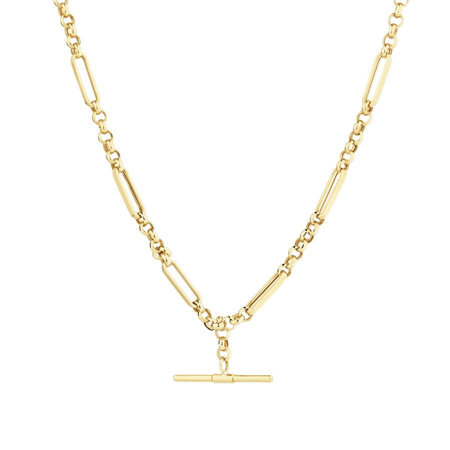 50cm Hollow Belcher Fob Necklace in 10ct Yellow Gold