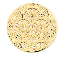 Diamond Set Art Deco Coin Locket Insert in 10ct Yellow Gold