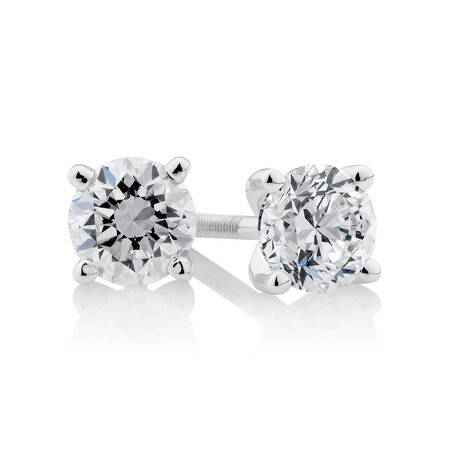 Certified Solitaire Stud Earrings with 0.5 Carat TW of Diamonds in 14ct White Gold